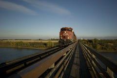 Train au-dessus de passerelle Photo libre de droits