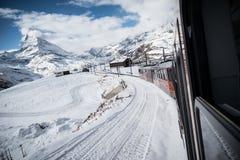 Train au Matterhorn Images libres de droits