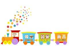 Train avec les enfants heureux Images stock