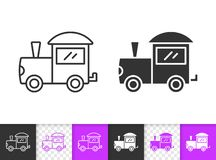 Train baby toy simple black line vector icon stock illustration