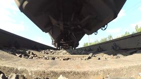Train from below. POV, point of view with low angle view stock footage