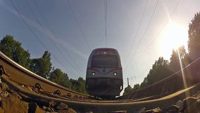 Train from below. Train view from below, sun stock video footage