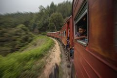 The train is the best way to get around Sri Lanka on a budget, also it is a good way how to meet some locals and share experience royalty free stock image