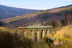 Train on the big viaduct Royalty Free Stock Image