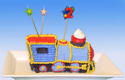 Train birthday cake. Highly decorated train locomotive cake for a toddler's birthday stock image