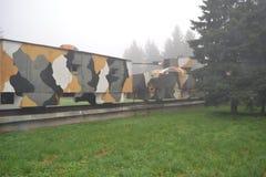 Train blindé en brouillard Images libres de droits