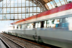 Train in blurred motio Stock Photos