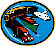 Train boat plane truck transport Stock Images