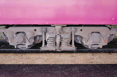 Train bogie with frame, coil springs, wheels and axle bearings royalty free stock image