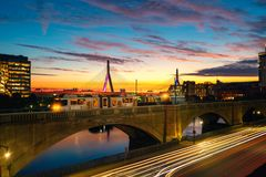 Train in Boston with Bridge and sunrise background in morning ti royalty free stock images