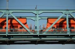 Train on the bridge. Train running over Danubian bridge Stock Photo
