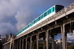 Train on  bridge Royalty Free Stock Photo