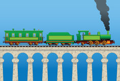 Train on the bridge Royalty Free Stock Image