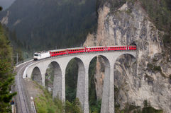 Train on a bridge royalty free stock photo