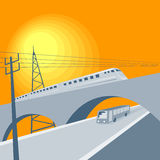 Train on bridge. Vector art on land transportation