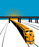 Train with bridge. Vector art on rail travel and transport Royalty Free Stock Photos