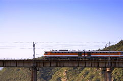 Train on the bridge Royalty Free Stock Images