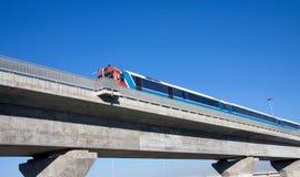 Train on  bridge. Fast train on a concrete  bridge Stock Photography