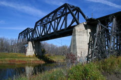 Train Bridge. Over the Battle River located south of Battleford, Saskatchewan Stock Photo