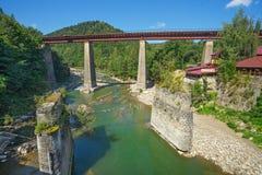 Train Bridge Across The Prut River In Yaremche Stock Images