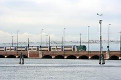 Train bridge on the adriatic sea Stock Image