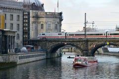 Train on the bridge, Berlin stock images