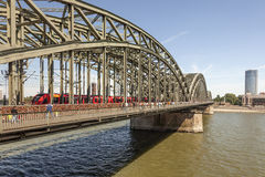 Train on the bridge in Cologne, Germany Stock Photography
