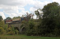 Train on bridge in countryside, Effingham, Illinois Royalty Free Stock Photography