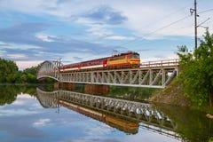 Train on bridge. Royalty Free Stock Photo