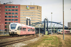 Train & Bridge. Entry view of central train station - March 2017, Groningen Netherlands Stock Photo