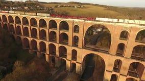 Train bridge europe germany thuringia travelling. Landscape stock video
