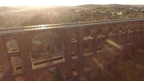 Train bridge europe germany thuringia travelling. Landscape stock video footage
