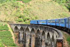 Train on bridge in hill country of Sri Lanka stock images