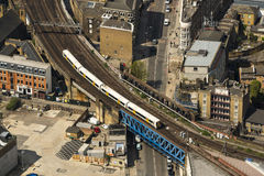 Train on a bridge in London Stock Photo