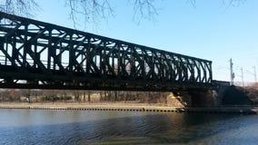 Train bridge oberhausen emscher royalty free stock images