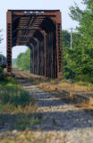 Train Bridge On Riviere Des Mille Iles, Canada Royalty Free Stock Images