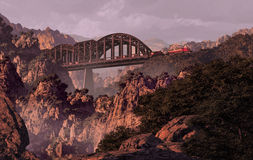 Train And Bridge Over Canyon In The Southwest. Diesel locomotive on a bridge over a canyon in the Southwest Royalty Free Stock Images