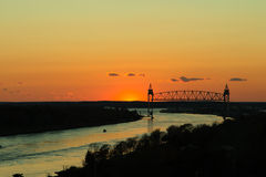Train Bridge over Cape Cod Canal at Sunset Royalty Free Stock Image