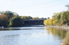 Train bridge. Over river Royalty Free Stock Image