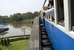 Train on Bridge over River Kwai Royalty Free Stock Photo