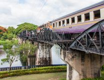 Train on the bridge over river Kwai in Kanchanaburi province, Thailand.The bridge is famous Royalty Free Stock Photos