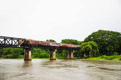 Train on the bridge  over the river kwai Royalty Free Stock Images
