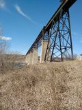 Train bridge. Over river in the spring Royalty Free Stock Photography