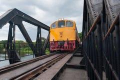 Train on the bridge. Train bridge railway river water Royalty Free Stock Images