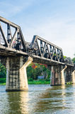 The train Bridge of the River Kwai in thailand. Royalty Free Stock Images
