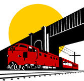 Train with bridge and sun Royalty Free Stock Images