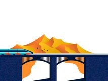 Train on the bridge royalty free illustration