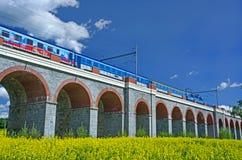 Train on bridge. Viaduct Czech Republic.Travel by train.Train on bridge Stock Photo
