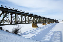Train Bridge in Winter Royalty Free Stock Image