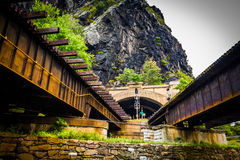 Train bridges and tunnel in Harper's Ferry, West Virginia. Stock Images